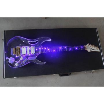 Crystal Ibanez Blue Led Light Acrylic Plexiglass Electric Guitar