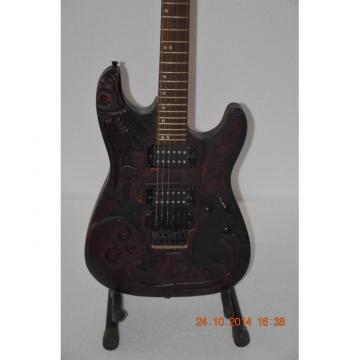 Custom Shop Black Machine Skull Emo 6 String Gear 4 Music Vintage Carved Electric Guitar