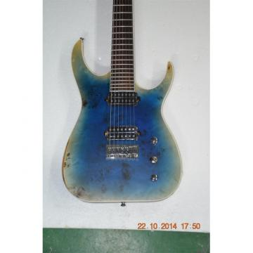 Custom Shop 7 String Transparent Blue Birds Eye Black Machine Electric Guitar