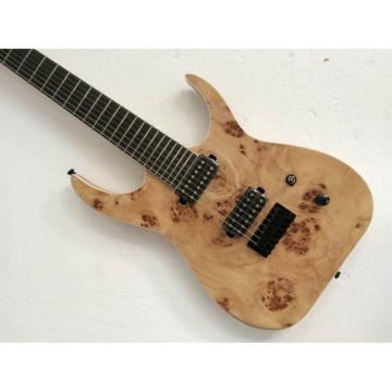 Custom Shop 7 String Birds Eye Electric Guitar  BlackMachine