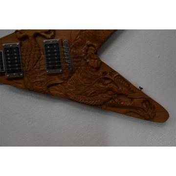 Custom Shop 6 String Dragon Carved Natural Electric Guitar Carvings Flying V