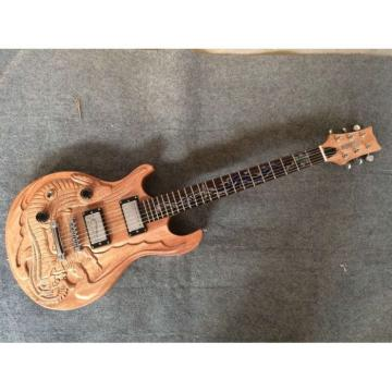 Custom Shop 6 String Dragon Carved Natural Electric Guitar Carvings