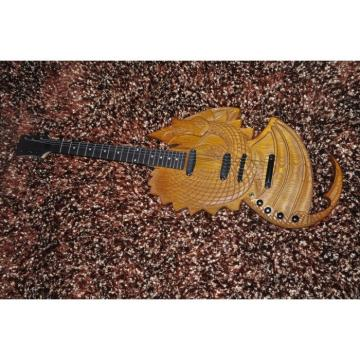 Custom Shop 6 String Dragon Ash Natural Electric Guitar Carvings