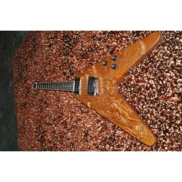 Custom Shop 6 String Dragon Flying V Electric Guitar Carvings