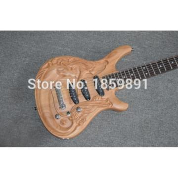 Custom Shop 6 String 3D mermaid Carved Natural Electric Guitar