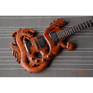 Custom Handmade 6 String Dragon Electric Guitar Carvings