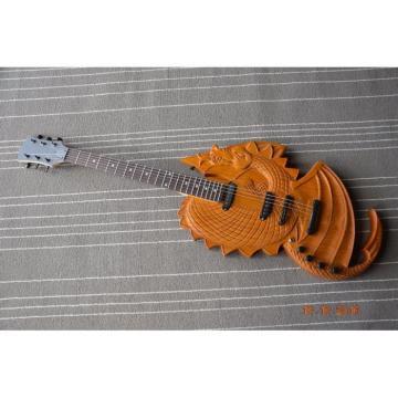Custom Handmade 6 String Dragon Ash Natural Electric Guitar Carvings