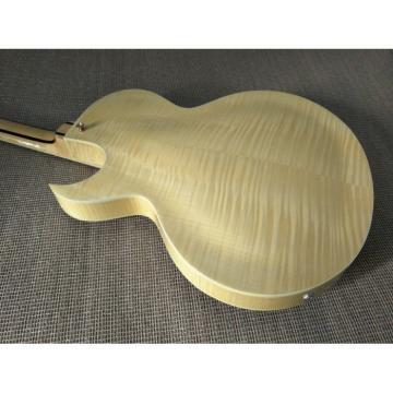 Custom Built Natural Tiger Maple Top LP 6 String Electric Guitar Semi Hollow