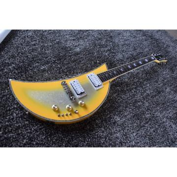 Custom Built Kawai Moonsalut Electric Guitar Yellow Real Abalone