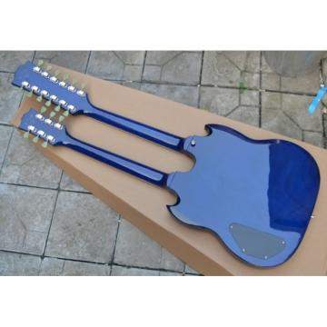 Custom Shop Don Felder EDS 1275 SG Double Neck Transparent Midnight Blue Electric Guitar