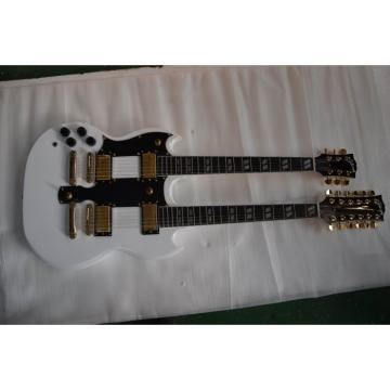 Custom Left Handed Don Felder EDS 1275 SG Double Neck Arctic White Gold Hardware Guitar