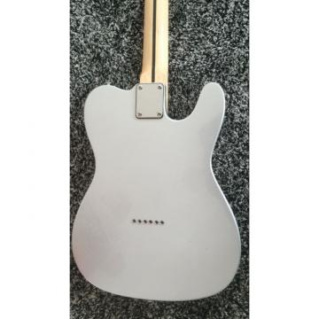 Custom Fender Left Handed Slick Silver Telecaster Blacktop Guitar Baritone Scale length 28 5/8 Inch 23 frets