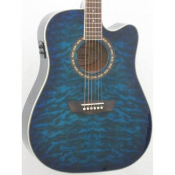 Washburn Apprentice Quilt Dreadnought Blue Acoustic Electric Guitar