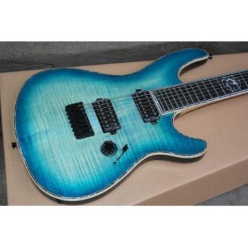 Custom Built Regius 7 String Transparent Blue Mayones Guitar