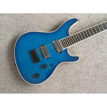 Custom Built Regius 7 String Royal Blue Maple Top Mayones Guitar