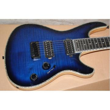 Custom Built Regius 7 String Transparent Dark Blue Mayones Guitar Japan Parts