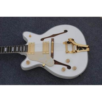 Custom Shop Left Handed White Gretsch Falcon 6120 Jazz Guitar