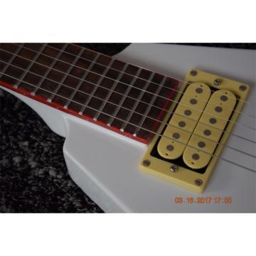 Custom Flying V Jackson White Stripe Red Electric Guitar