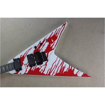 Custom Shop Blood Spatter Authorized EMG Pickups Dan Jacobs Flying V ESP Guitar