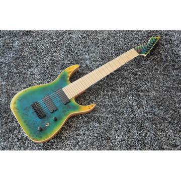 Custom Black Machine 8 String Transparent Blue Maple Fretboard Guitar