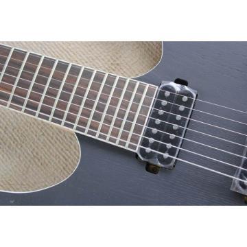 Custom Shop 7 String Black Electric Guitar  Black Machine