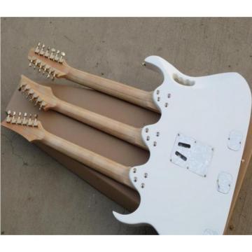 Custom Ibanez White JEM 7V Triple Neck 6/6/12 Strings Guitar