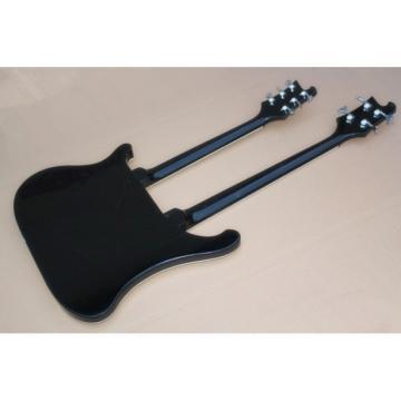 Custom 4080 Double Neck Geddy Lee Jetglo Black 4 String Bass 6/12 String Guitar