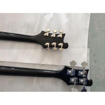 Custom 4080 Double Neck Geddy Lee Black 4 String Bass 6/12 String Option Guitar