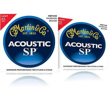 Martin MSP4100 Phosphor Bronze Light Acoustic Strings (2 Pack)