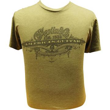 Martin America's Guitar - Black Logo on Military Green T-Shirt XX Large