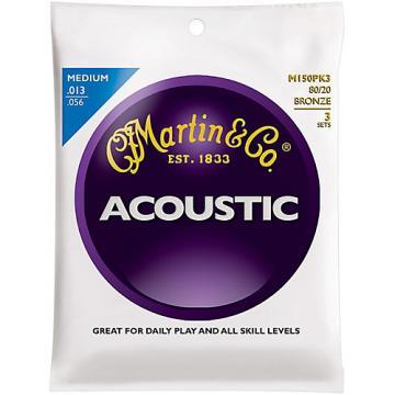 Martin M150 80/20 Bronze Medium 3-Pack Acoustic Guitar Strings