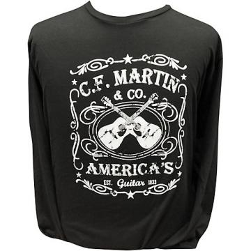 Martin America's Dual Guitar Logo - Long Sleeve Black T-Shirt XX Large