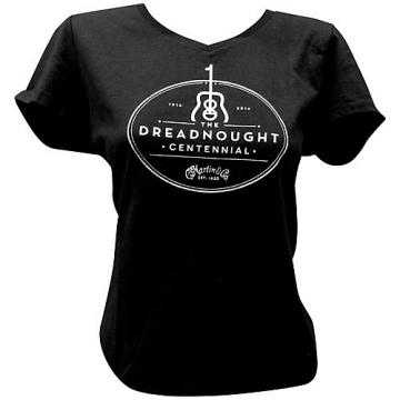 Martin Dreadnought Centennial V-Neck Ladies T-Shirt XX Large Black