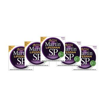 Martin SP 6050 80/20 Bronze Lifespan Coated Acoustic Strings Custom Light Regular (5 Pack)