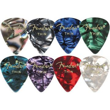 Fender 351 Premium Celluloid Guitar Picks  (12-Pack) Medium White Moto Thin