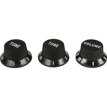 Fender Strat Knobs 1 Volume/2 Tone Black