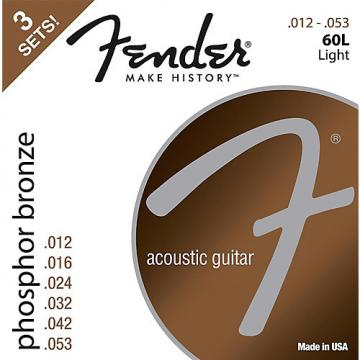 Fender 60L Phosphore Bronze Acoustic Guitar Strings, Light Gauge 12-53 (3-Pack)