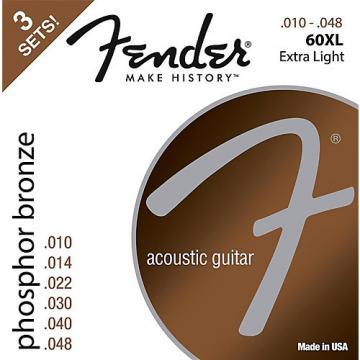 Fender 60XL Phosphore Bronze Acoustic Guitar Strings Extra Light Gauge 10-48 (3-Pack)