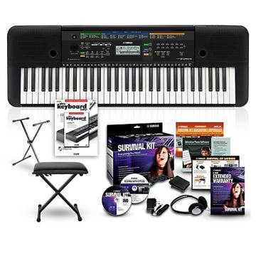 Yamaha PSRE253 61-Key Portable Keyboard Package Black