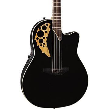 Ovation Elite TX Mid Depth Cutaway Acoustic-Electric Guitar Black
