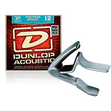 Dunlop Trigger Curved Nickel Capo and Phosphor Bronze Light Acoustic Guitar Strings