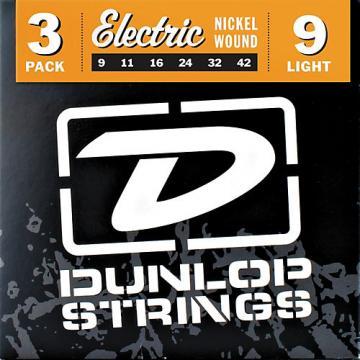Dunlop Nickel Plated Steel Electric Guitar Strings Light 3-Pack