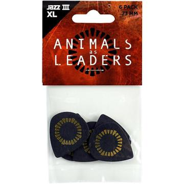 Dunlop Animals As Leaders Tortex Jazz III XL, Black, Guitar Picks .73 mm 6 Pack