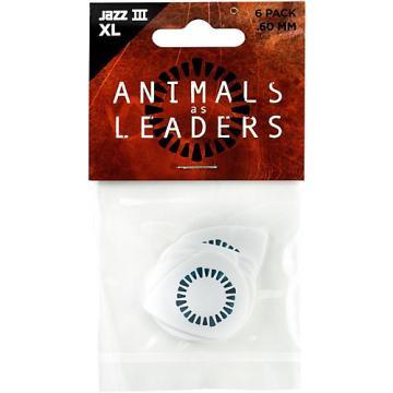 Dunlop Animals as Leaders Tortex Jazz III, White Guitar Picks .60 mm 6 Pack