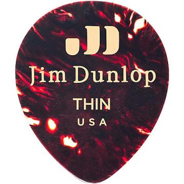 Dunlop Celluloid Teardrop, Shell Guitar Picks Thin 72 Pack