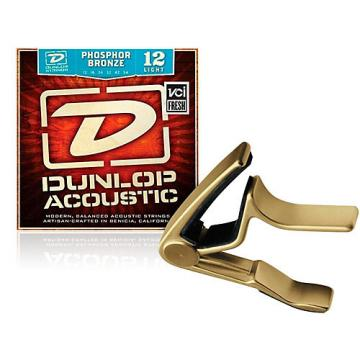 Dunlop Trigger Curved Gold Capo and Phosphor Bronze Light Acoustic Guitar Strings
