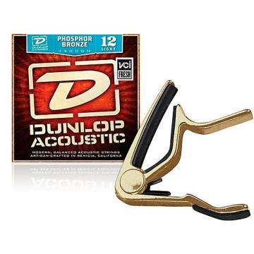 Dunlop Trigger Flat Gold Capo and Phosphor Bronze Light Acoustic Guitar Strings