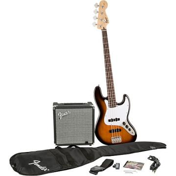 Squier Affinity Series Jazz Bass Pack with Fender Rumble 15W Bass Combo Amp Brown Sunburst