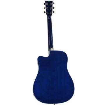 Blue Full Size Thinline Acoustic Electric Guitar with Free Gig Bag Case & Picks