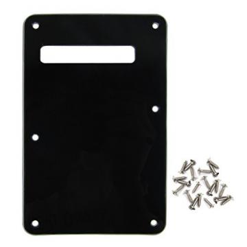 IKN 3Ply Black Strat SQ Style Guitar Cavity Cover Tremolo Back Plate w/ 25 Screws